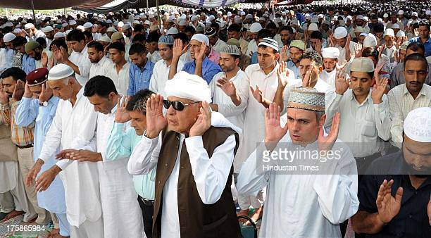 Jammu and Kashmir Chief Minister Omar Abdullah with his father and Union Renewable Minister Dr Farooq Abdullah offering prayers at Hazratbal Shrine...