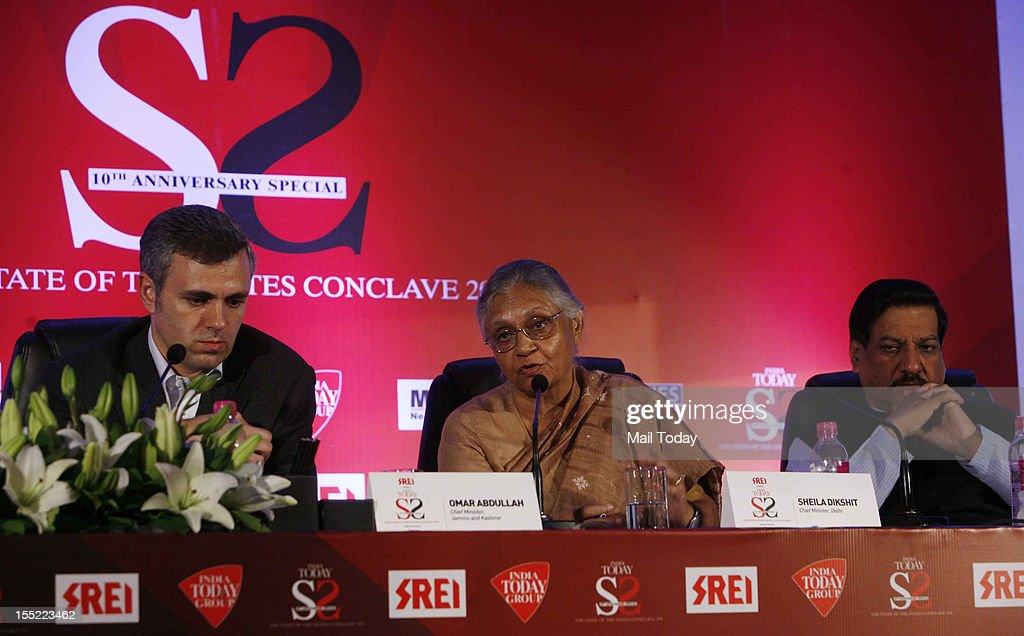 Jammu and Kashmir CM Omar Abdullah, Delhi CM Sheila Dikshit and Maharashtra CM Prithviraj Chavan at the India Today State of the States Conclave in New Delhi on Thursday, November 1, 2012.