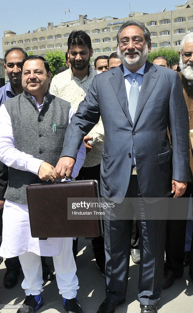 Jammu and Kashmir Finance Minister Haseeb Drabu arrives at assembly house to present budget 2016-17, in Srinagar, India. Since Jammu and Kashmir was under the governor's rule from 7 January to 4 April because of the death of the then chief minister Mufti Muhammad Sayeed, it did not have a normal budget. Finance Minister proposed waiving off school for all girl students up to higher secondary level in all state-run institutions.