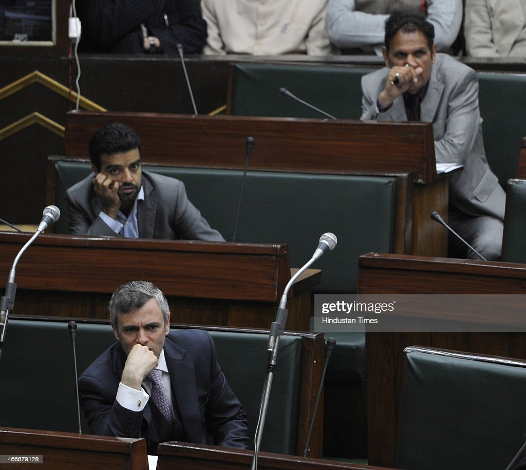 Jammu and Kashmir former chief minister and NC working president Omar Abdullah in the assembly during budget session on March 19, 2015 in Jammu, India. Amid walkouts, Jammu and Kashmir Assembly witnessed noisy scenes, uproar and heated exchange of words between members of opposition and treasury benches on various issues.