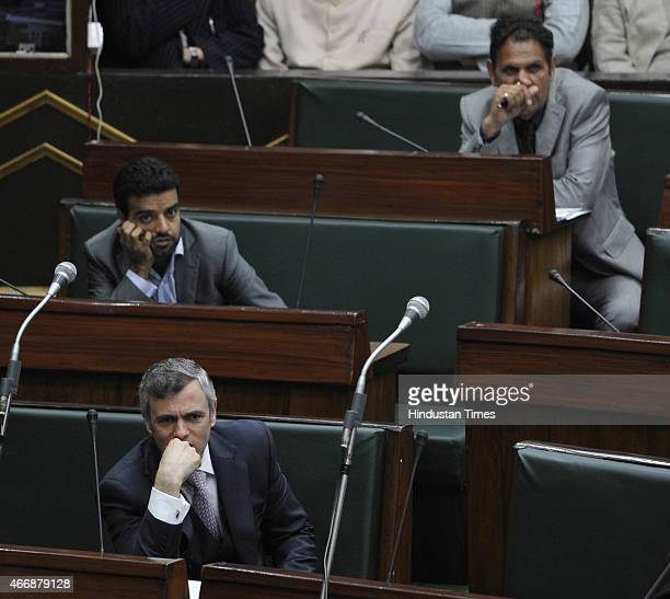 Jammu and Kashmir former chief minister and NC working president Omar Abdullah in the assembly during budget session on March 19 2015 in Jammu India...