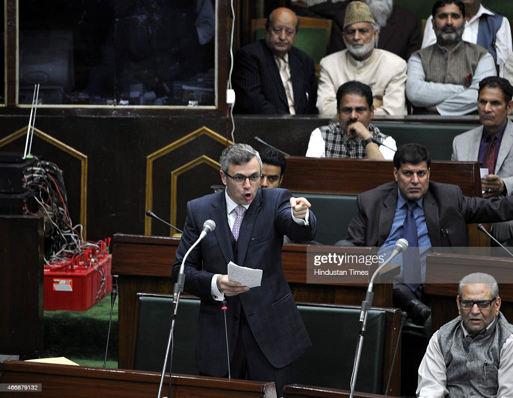 Jammu and Kashmir former chief minister and NC working president Omar Abdullah speaks in the assembly during budget session on March 19, 2015 in Jammu, India. Amid walkouts, Jammu and Kashmir Assembly witnessed noisy scenes, uproar and heated exchange of words between members of opposition and treasury benches on various issues.