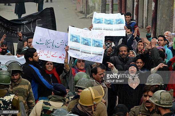 Jammu and Kashmir Liberation Front activists shout profreedom slogans during a protest agains state assembly elections at Maisuma locality in...