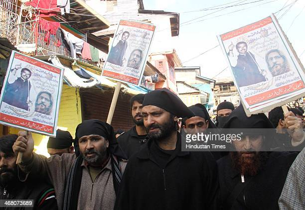 Jammu and Kashmir liberation front chairman Muhammad Yasin Malik during a protest march on the first death anniversary of Parliamentattack convict...