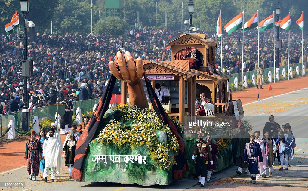 Jammu and Kashmir tableau during 64th Republic Day celebrations in New Delhi on Saturday. (Photo by Shekhar Yadav/India Today Group/Getty Images))