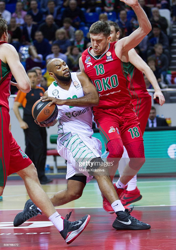 Jamon Gordon, #22 of Darussafaka Dogus Istanbul competes with Eugeny Voronov, #18 of Lokomotiv Kuban Krasnodar during the Turkish Airlines Euroleague Basketball Top 16 Round 7 game between Lokomotiv Kuban Krasnodar v Darussafaka Dogus Istanbul at Basket Hall on February 12, 2016 in Krasnodar, Russia.