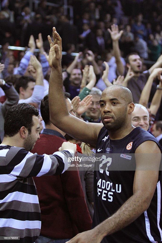 Jamon Lucas #22 of Anadolu Efes celebrates with fans the score of the 2012-2013 Turkish Airlines Euroleague Top 16 Date 8 between Anadolu EFES Istanbul v CSKA Moscow at Abdi Ipekci Sports Arena on February 22, 2013 in Istanbul, Turkey.