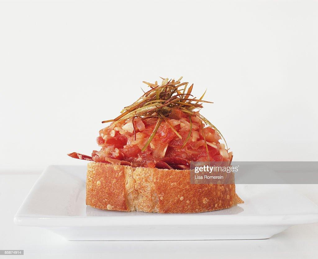 Jamon sofrito (ham) & fried leeks