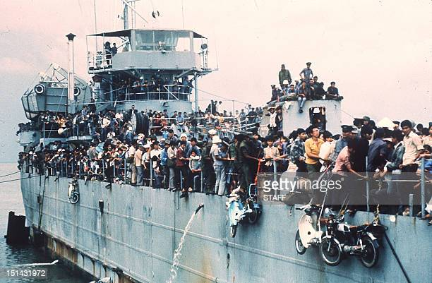Jampacked with more than 7000 refugees the South Vietnamese Navy ship HQ504 arrives at Vung Tau port the South Vietnam' s most popular sea resort and...