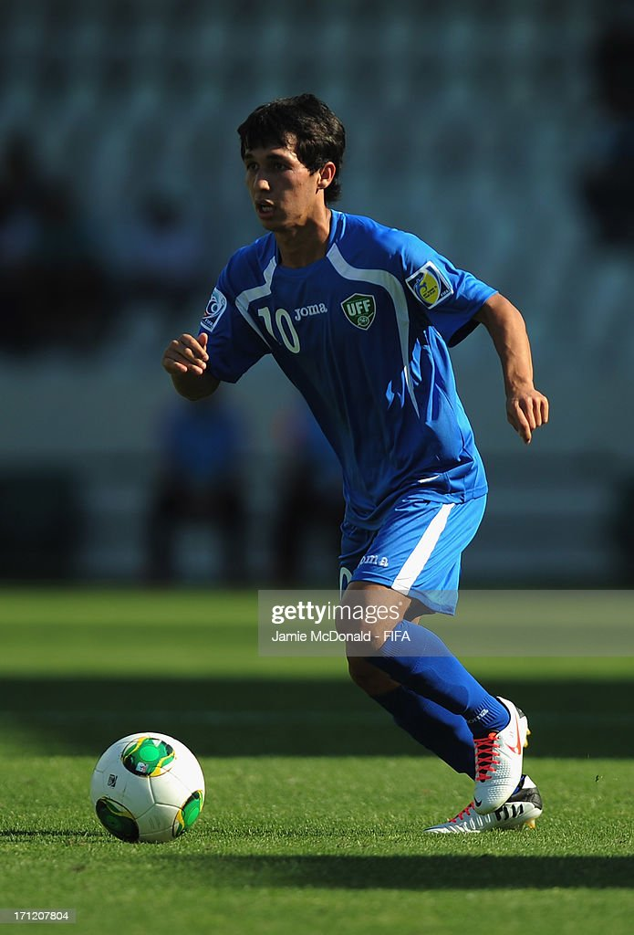 Jamshid Iskanderov of Uzbekistan in action during the FIFA U-20 World Cup Group F match between New Zealand and Uzbekistan at the Ataturk Stadium on June 23, 2013 in Bursa, Turkey.