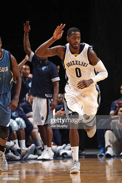 JaMychal Green of the Memphis Grizzlies celebrates a three point basket against the Minnesota Timberwolves during a preseason game on October 18 2015...