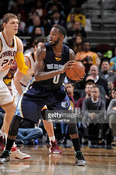 JaMychal Green of the Memphis Grizzlies defends the ball against the Cleveland Cavaliers during the game on March 7 2016 at Quicken Loans Arena in...