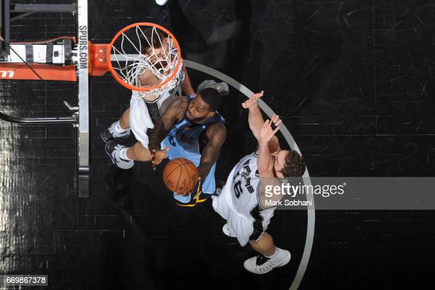 JaMychal Green of the Memphis Grizzlies drives to the basket against the San Antonio Spurs during Game Two of the Western Conference Quarterfinals of...