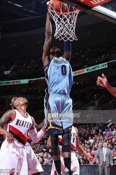 JaMychal Green of the Memphis Grizzlies dunks against the Portland Trail Blazers during the game on January 4 2016 at Moda Center in Portland Oregon...