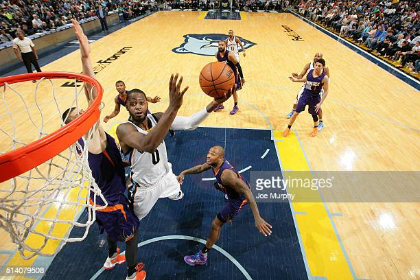 JaMychal Green of the Memphis Grizzlies goes for the layup during the game against the Phoenix Suns on March 6 2016 at FedExForum in Memphis...