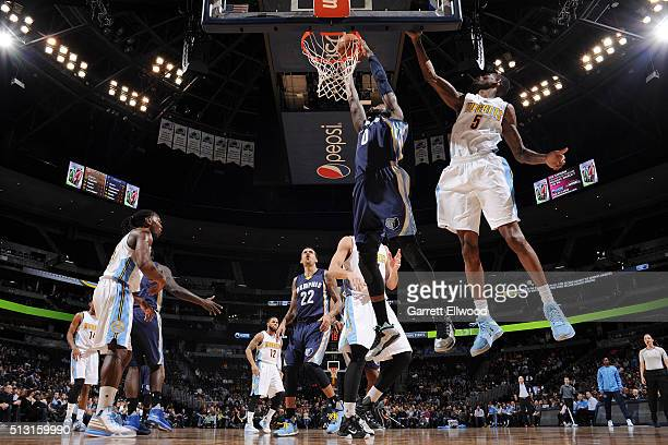 JaMychal Green of the Memphis Grizzlies goes up for a dunk against the Denver Nuggets on February 29 2016 at the Pepsi Center in Denver Colorado NOTE...