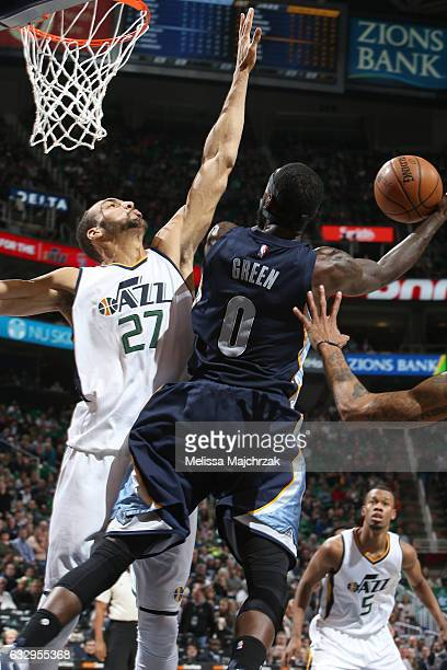 JaMychal Green of the Memphis Grizzlies goes up for a lay up against the Utah Jazz on January 28 2017 at vivintSmartHome Arena in Salt Lake City Utah...