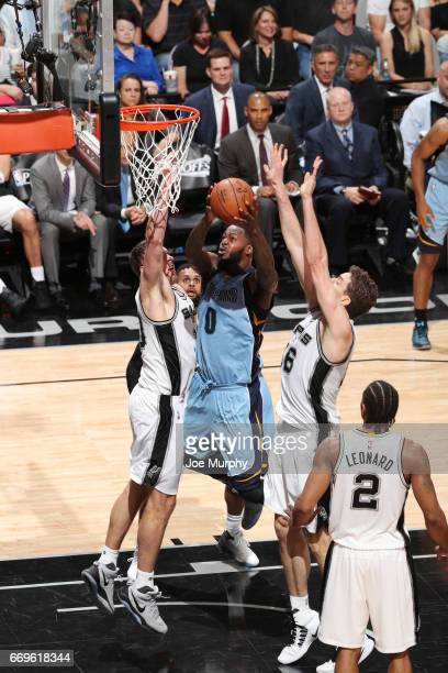 JaMychal Green of the Memphis Grizzlies goes up for a shot against the San Antonio Spurs during Game Two of the Western Conference Quarterfinals of...