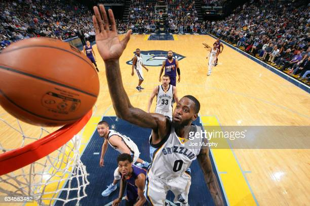 JaMychal Green of the Memphis Grizzlies goes up to block a shot against the Phoenix Suns on February 8 2017 at FedExForum in Memphis Tennessee NOTE...