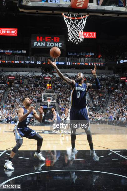 JaMychal Green of the Memphis Grizzlies grabs the rebound against the San Antonio Spurs during Game Five of the Western Conference Quarterfinals of...