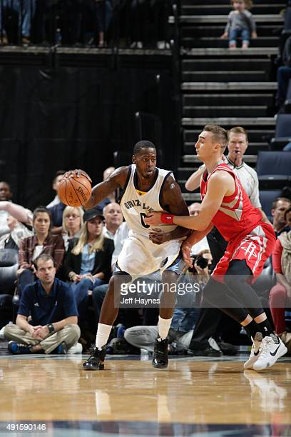 JaMychal Green of the Memphis Grizzlies handles the ball against Sam Dekker of the Houston Rockets during a preseason game on October 6 2015 at...