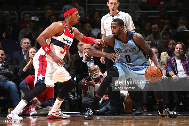 JaMychal Green of the Memphis Grizzlies handles the ball against the Washington Wizards on March 12 2015 at Verizon Center in Washington DC NOTE TO...