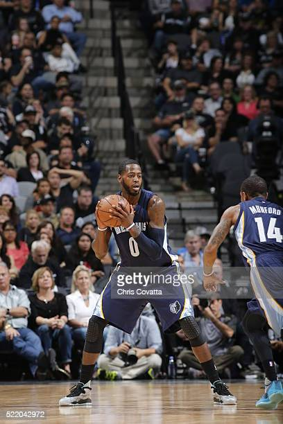 JaMychal Green of the Memphis Grizzlies handles the ball against the San Antonio Spurs in Game One of the Western Conference Quarterfinals during the...