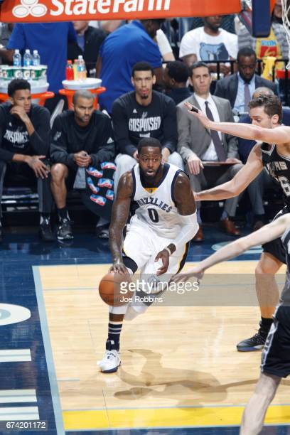 JaMychal Green of the Memphis Grizzlies handles the ball against the San Antonio Spurs during Game Six of the Western Conference Quarterfinals of the...