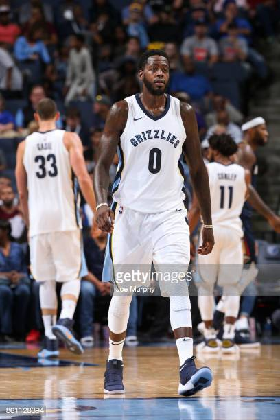 JaMychal Green of the Memphis Grizzlies looks on during a preseason game against the New Orleans Pelicans on October 13 2017 at FedExForum in Memphis...
