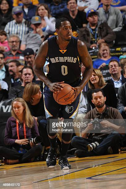 JaMychal Green of the Memphis Grizzlies passes the ball against the Golden State Warriors during the game on April 13 2015 at Oracle Arena in Oakland...