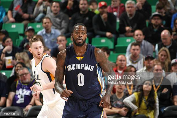 JaMychal Green of the Memphis Grizzlies reacts to a play against the Utah Jazz on November 14 2016 at vivintSmartHome Arena in Salt Lake City Utah...