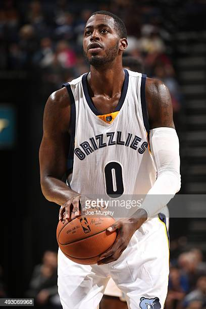 JaMychal Green of the Memphis Grizzlies shoots a free throw against the Oklahoma City Thunder during a preseason game on October 16 2015 at...