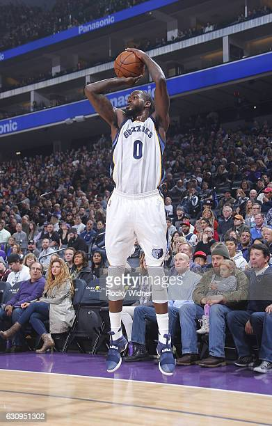 JaMychal Green of the Memphis Grizzlies shoots a three pointer against the Sacramento Kings on December 31 2016 at Golden 1 Center in Sacramento...