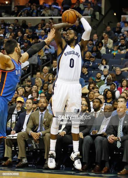 JaMychal Green of the Memphis Grizzlies shoots against the Oklahoma City Thunder at FedExForum on April 5 2017 in Memphis Tennessee The Thunder won...