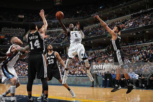 JaMychal Green of the Memphis Grizzlies shoots the ball against the San Antonio Spurs on March 28 2016 at FedExForum in Memphis Tennessee NOTE TO...