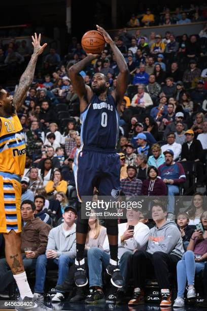 JaMychal Green of the Memphis Grizzlies shoots the ball against the Denver Nuggets on February 26 2017 at the Pepsi Center in Denver Colorado NOTE TO...