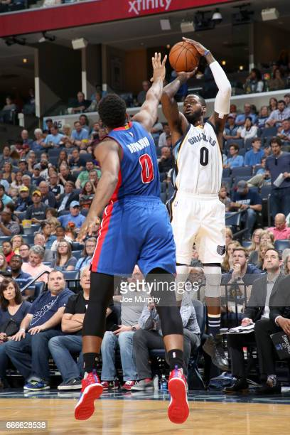 JaMychal Green of the Memphis Grizzlies shoots the ball against the Detroit Pistons on April 9 2017 at FedExForum in Memphis Tennessee NOTE TO USER...