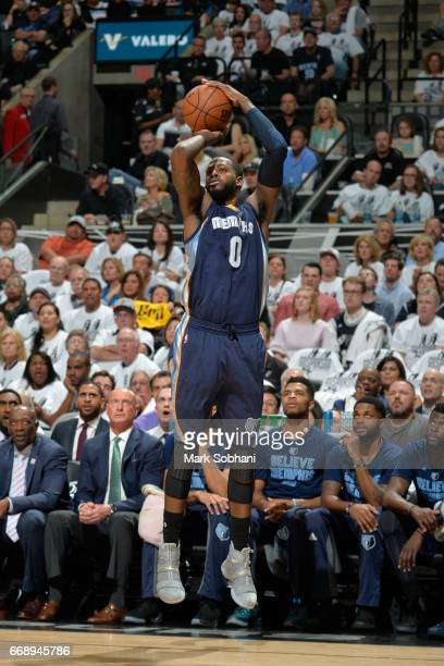 JaMychal Green of the Memphis Grizzlies shoots the ball against the San Antonio Spurs in Game One of Round One during the 2017 NBA Playoffs on April...