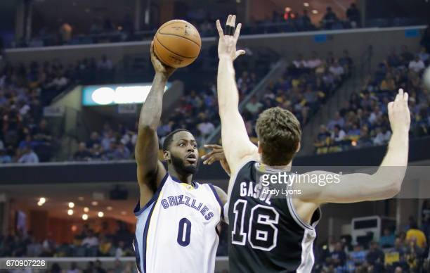 JaMychal Green of the Memphis Grizzlies shoots the ball against the San Antonio Spurs in game three of the Western Conference Quarterfinals during...