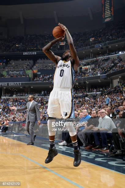 JaMychal Green of the Memphis Grizzlies shoots the ball against the San Antonio Spurs during Game Six of the Western Conference Quarterfinals of the...