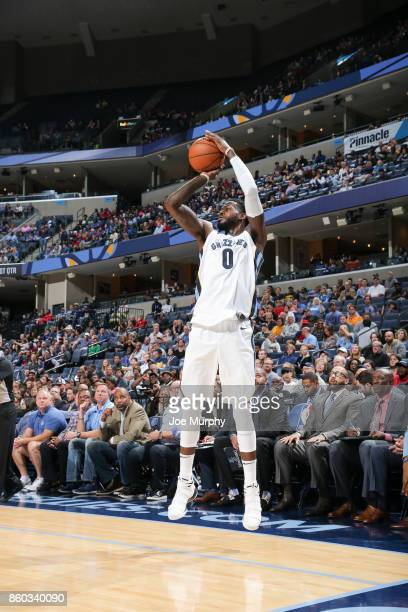 JaMychal Green of the Memphis Grizzlies shoots the ball during a preseason game against the Houston Rockets on October 11 2017 at FedExForum in...