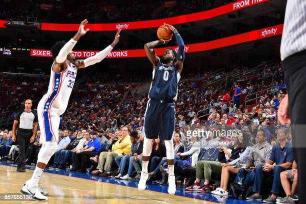 JaMychal Green of the Memphis Grizzlies shoots the ball during the game against the Philadelphia 76ers during a preseason game on October 4 2017 at...