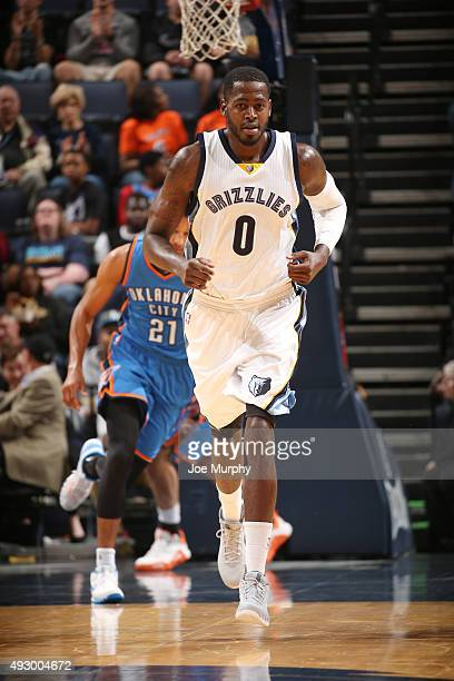 JaMychal Green of the Memphis Grizzlies stands on the court against the Oklahoma City Thunder during a preseason game on October 16 2015 at...