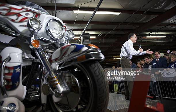 Jan 12 2012 Greer SC USA Republican Presidential candidate MITT ROMNEY holds a grassroots rally at Cherokee Trikes The South Carolina primary will be...