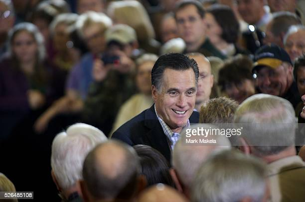 Jan 13 2012 Greer SC USA Republican Presidential candidate MITT ROMNEY holds a grassroots rally at University of South Carolina Aiken The South...
