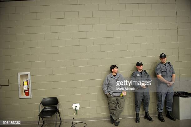 Jan 13 2012 Greer SC USA Security personnel monitor the Republican Presidential candidate MITT ROMNEY rally at University of South Carolina Aiken The...