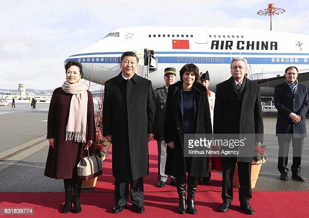 ZURICH Jan 15 2017 Swiss President Doris Leuthard holds a welcome ceremony for Chinese President Xi Jinping and his wife Peng Liyuan upon their...