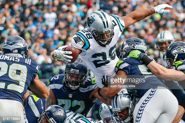 Carolina Panthers running back Jonathan Stewart dives for the touchdown during the NFC Divisional Playoff game between the Carolina Panthers and the...