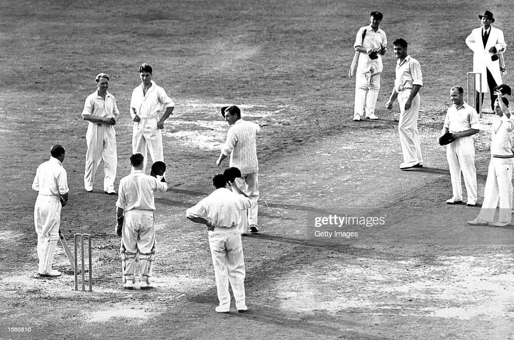 Sir Donald Bradman of Australia in action his last innings during the 1948 England v Australia test at the Oval London England Mandatory Credit...