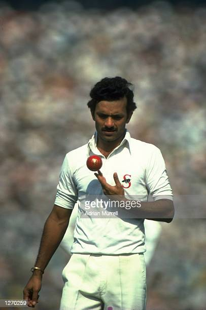 Fast bowler Madan Lal of India prepares to bowl during the Fourth Test match against England at Eden Gardens in Calcutta India The match ended in a...